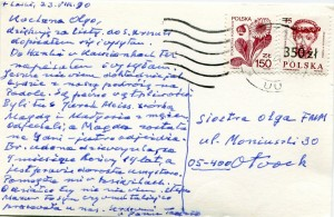 List ks. Tadeusza Fedorowicza do siostry Olgi Fedorowicz, 23.08.1990