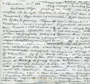 List ks. Tadeusza Fedorowicza do siostry Olgi Fedorowicz, 16.01.1991