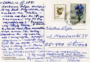 List ks. Tadeusza Fedorowicza do siostry Olgi Fedorowicz, 12.03.1991