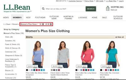l.l. bean vêtements taille plus
