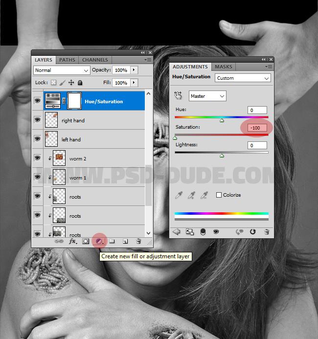 hue/saturation adjustment layer photoshop
