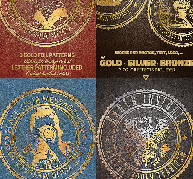 gold foil stamp photoshop action