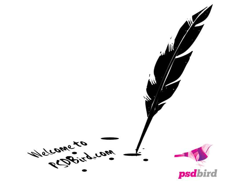 quill pen with editable text psd psd bird web amp graphic design