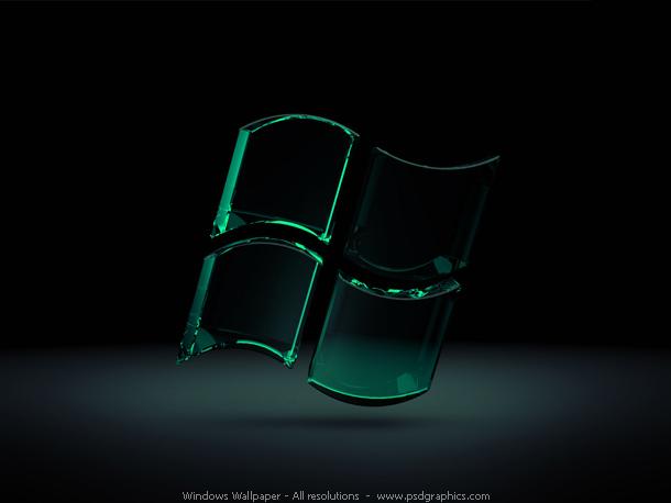 Modern theme Windows wallpaper. 3D glassy Windows logo in a shiny green
