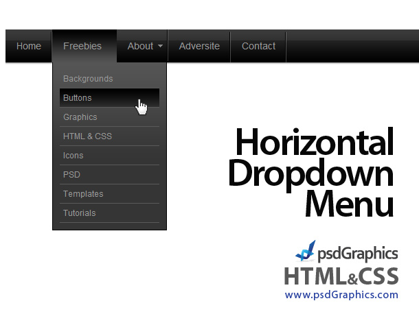 horizontal dropdown menu