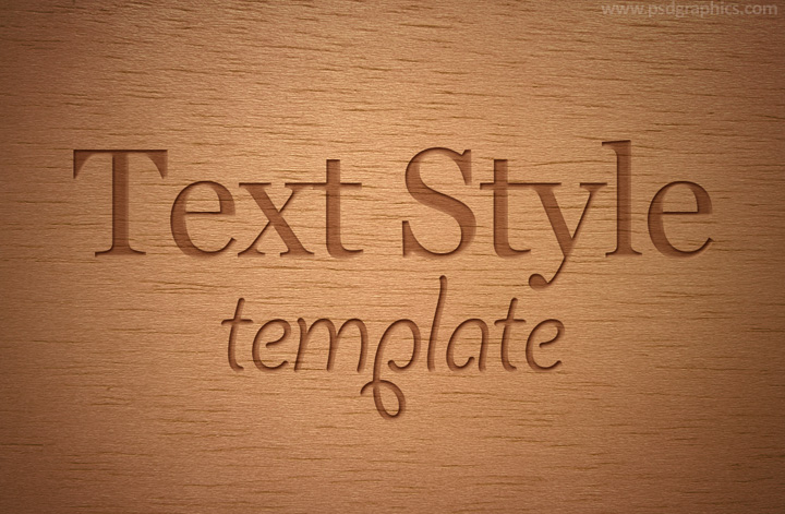 Engraved wood text style