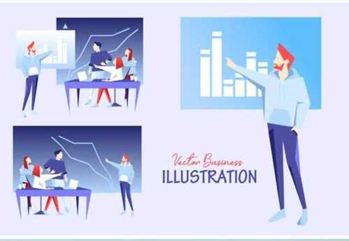 1 Marketing Team Vector Design Set Infographics Free Download psdly