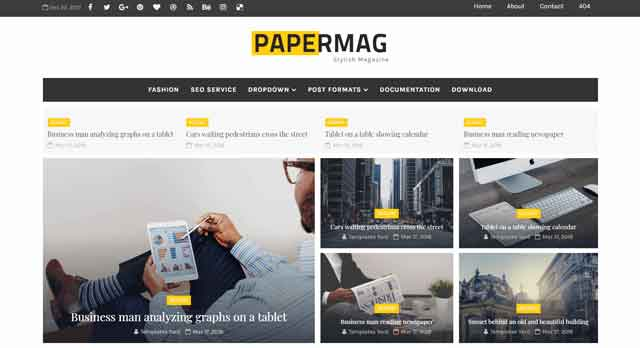 Papermag Stylish Magazine Blogger Template Premium Download Free