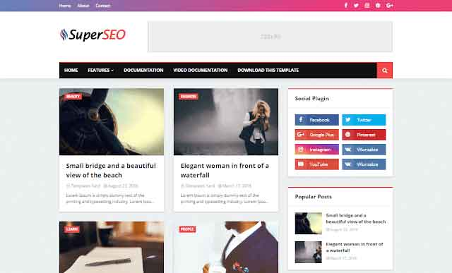 Super Seo Optimized Blogger Template Premium Version Free Download
