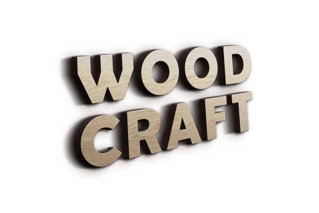 3D Wooden Wood Craft Logo Mockup