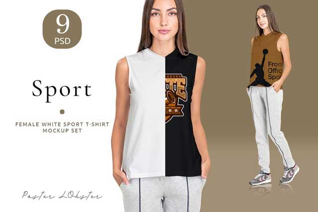 Female Sport T-shirt mockup set