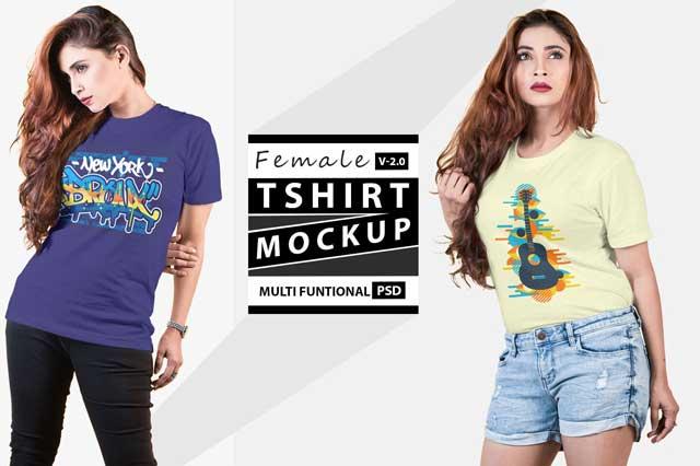 Female t-shirt Mockup V 2.0