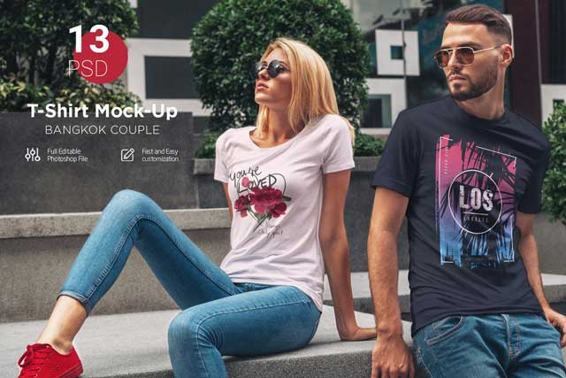 T Shirt Mock Up Couple In City