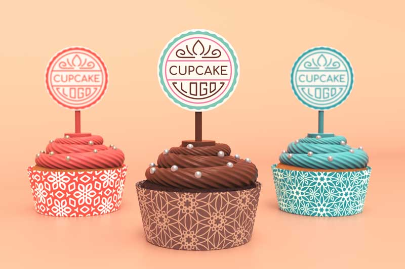 Cupcake Logo Mockup