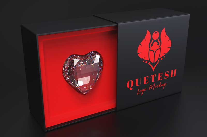 Diamond Heart Box Mockup