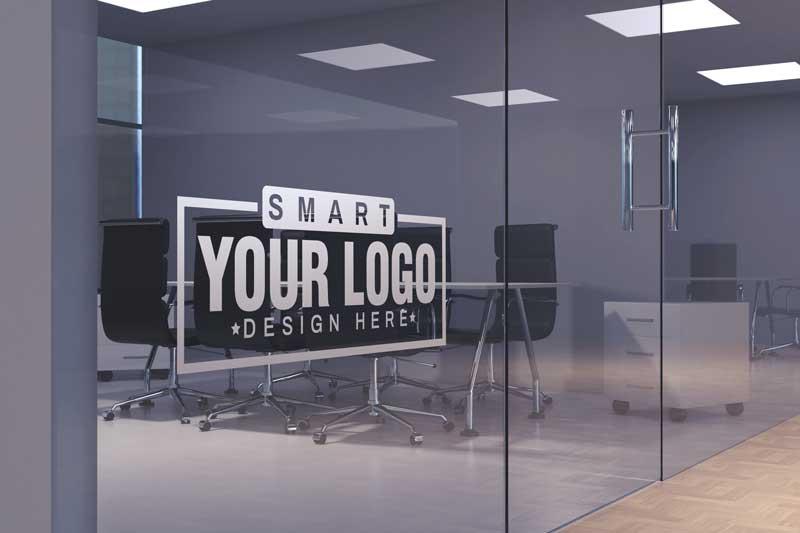 Logo Mockup Office Glass