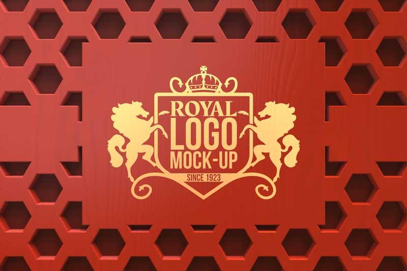 Red and Gold Decorative Wall Logo Mockup