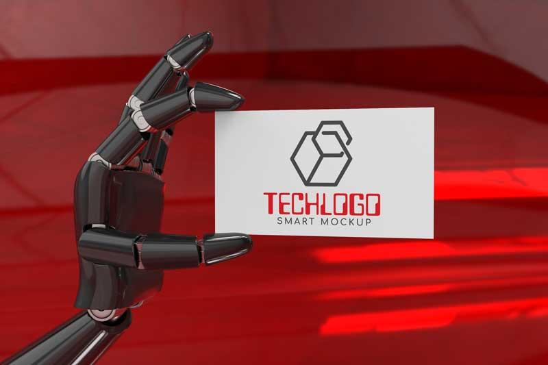 Robot Hand Logo  Mockup