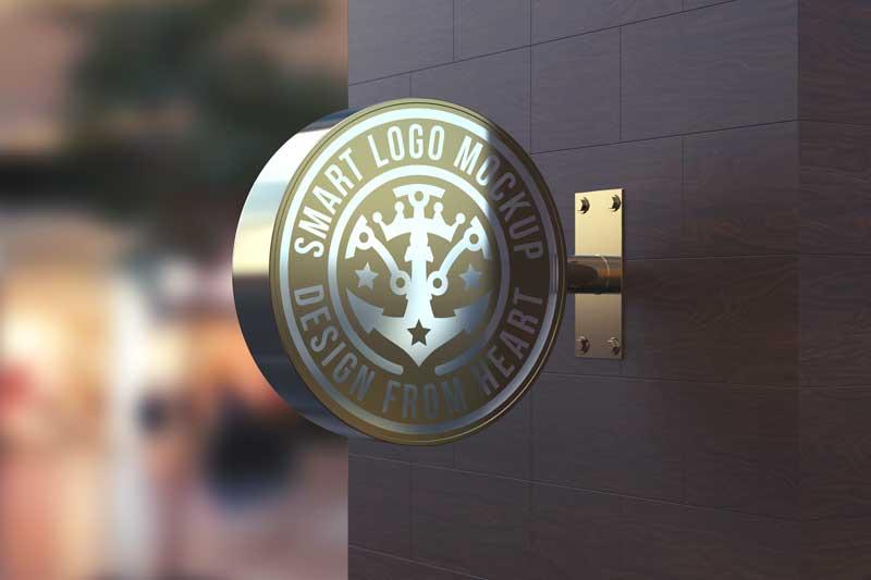 Round Sign Reflective Logo Mockup