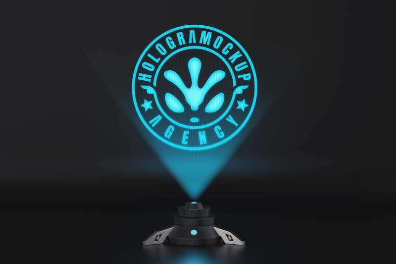 SciFi Hologram Logo Mockup