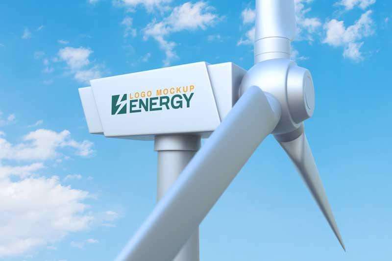 Wind Turbine Logo Mockup