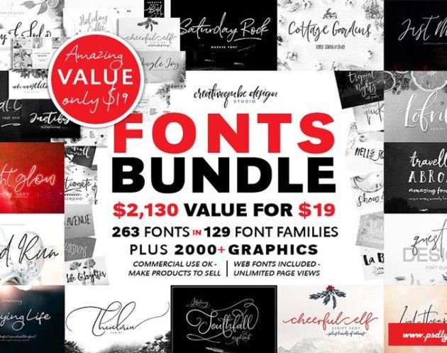 129 Fonts 2526 Graphics Bundle Creativemarket