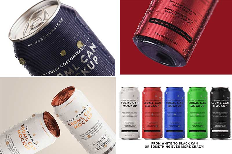 500ML Can Mockup Download