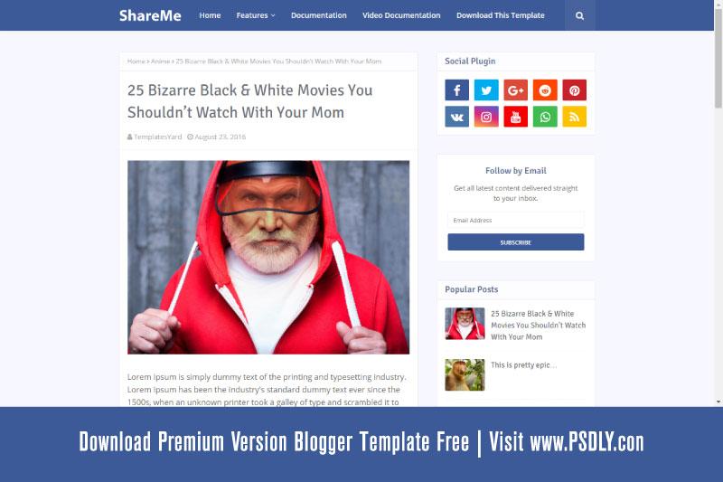 ShareMe Blogger Template Premium Version Free