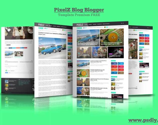 PixelZ Blog Blogger Template Premium Free