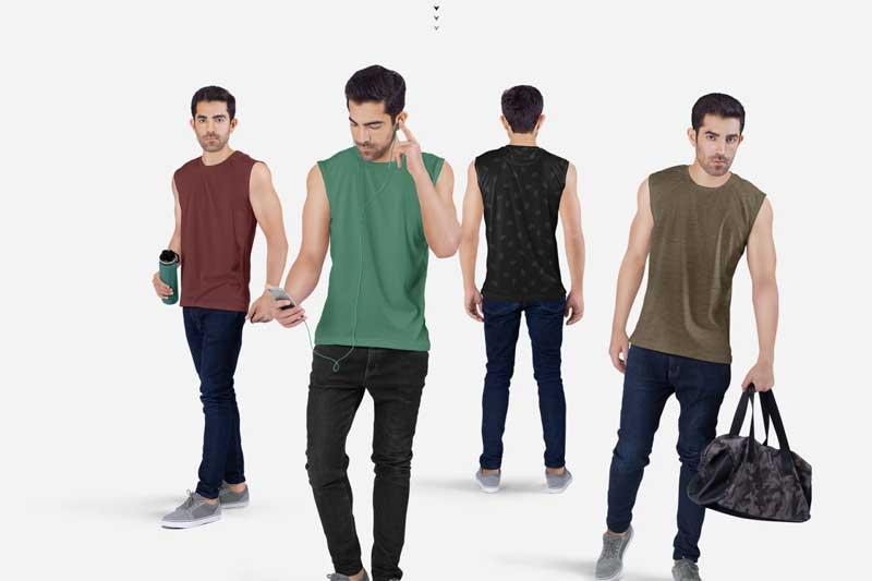 Men2527s Sleeveless Shirt Mockup Set 4