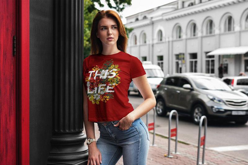 T Shirt Mock Up Walking Girl 2