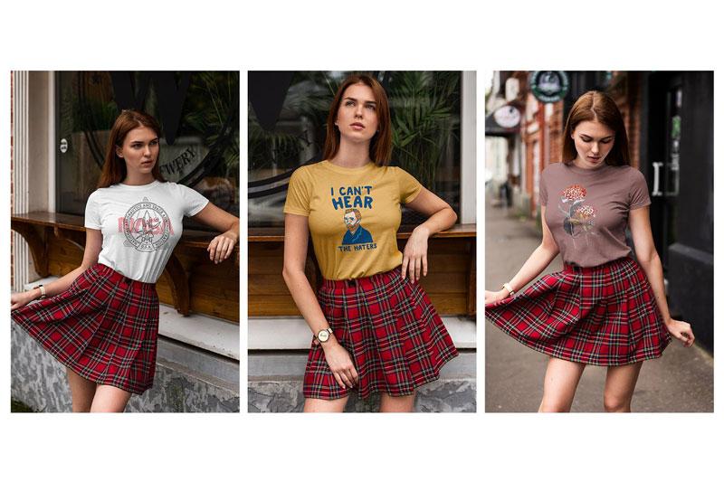 T Shirt Mock Up Walking Girl 8