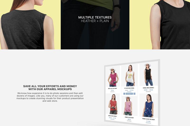 Women2527s Sleeveless Shirt Mockup Set 2