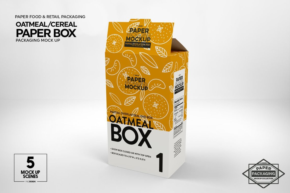 Download Paper Cereal Box Packaging Mockup 4347678 - Free PSD ...