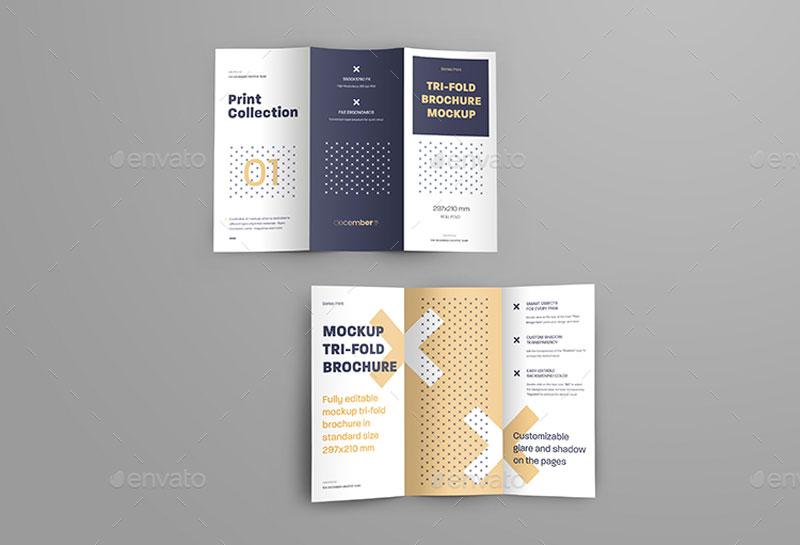 7 Mockups Leafleat DL Trifold Brochure 26080549