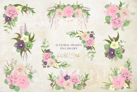 Boho Floral Frames Borders Wreath Clipar Graphics 3069225 2 580x387 1