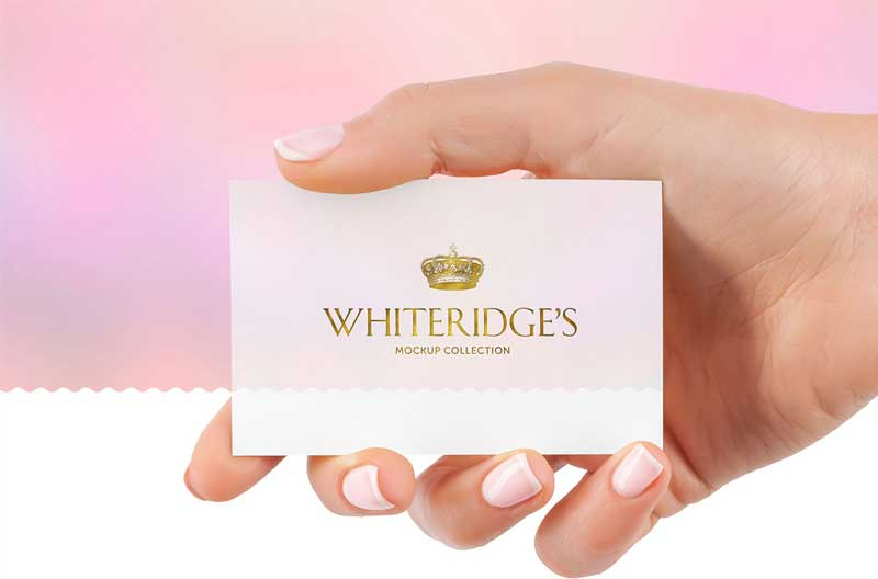 Hand with Gold Embossed Business Card Mockup 15 1