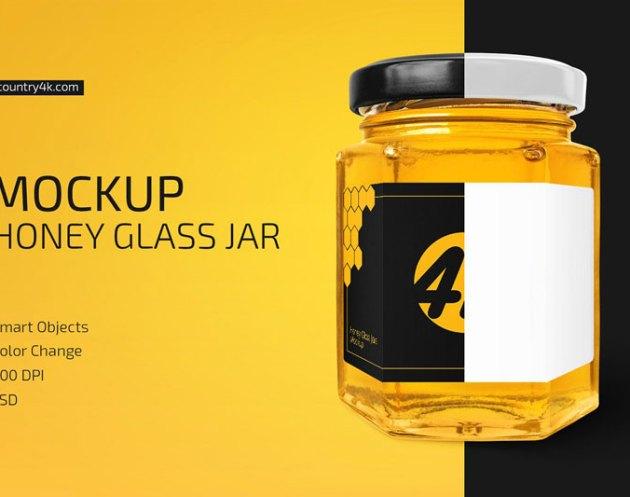 Honey Glass Jar Mockup 4447900