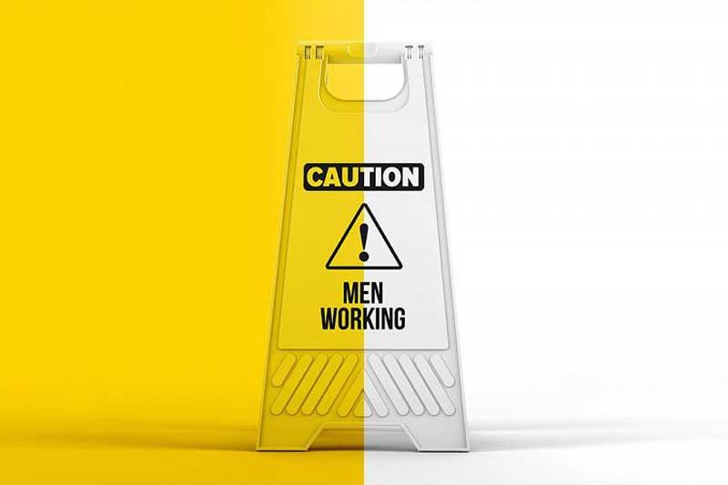 Plastic Caution Floor Sign Board Mockup Download Now