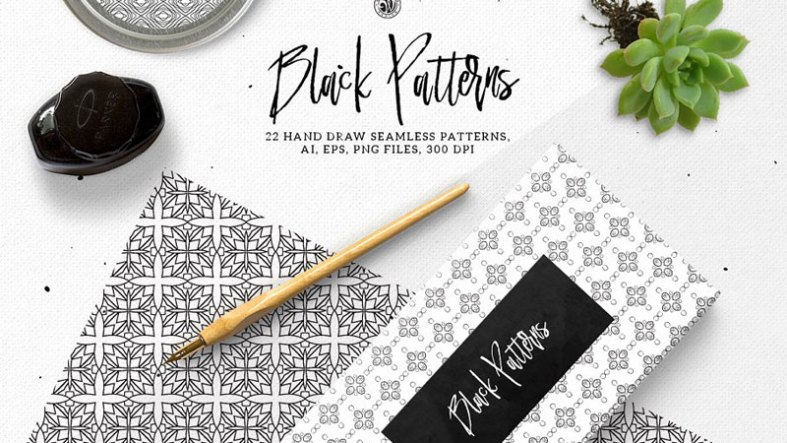 Creativemarket Black Patterns 1674433