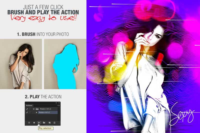 Modern Art Photoshop Action v2 25808691