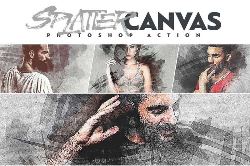 Splatter Canvas Photoshop Action 25815169