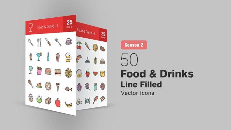50 Food 2526 Drinks Filled Line Icons Season II