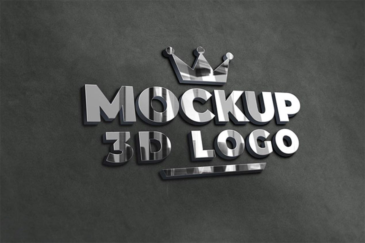 3D Silver Chrome Logo Mockup