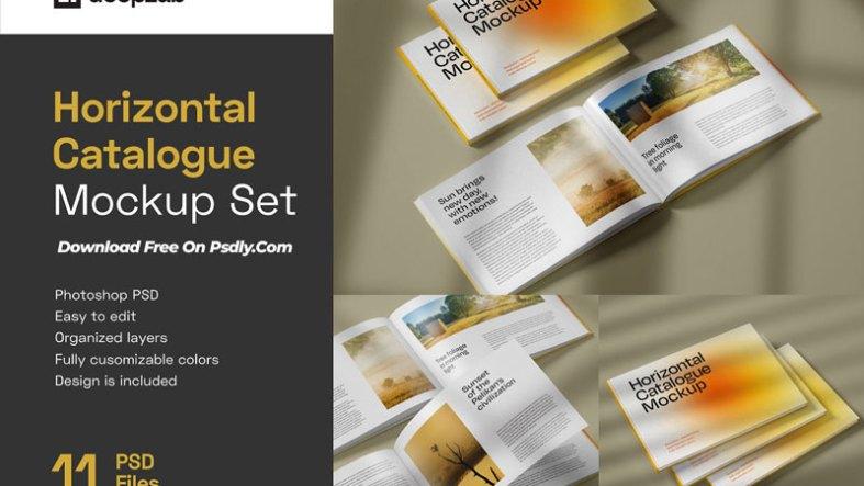 Horizontal Catalogue Mockup Set 4979491