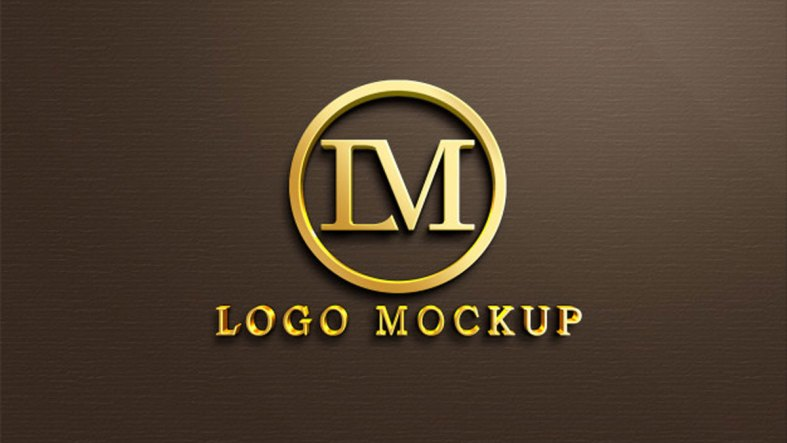 3d Gold Logo Mockup On Wall