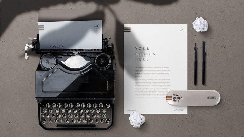 A4 Paper & Vintage Typewriter Stationery Mockup