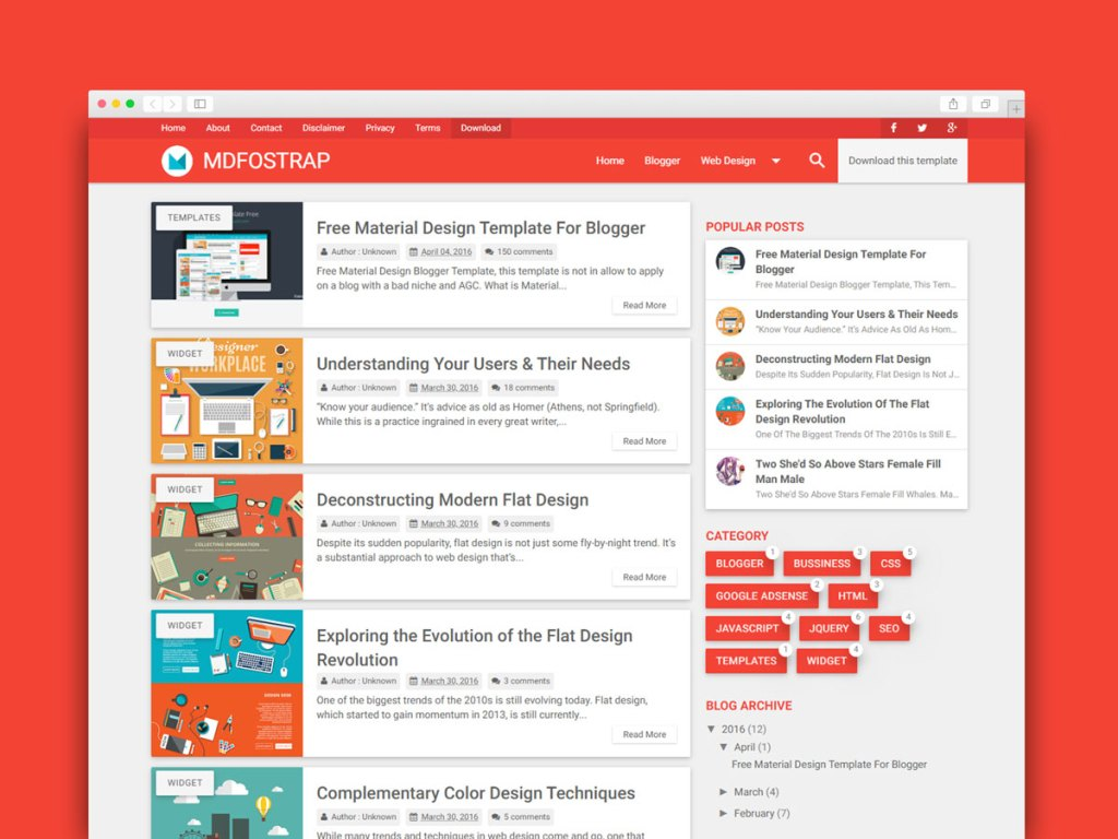 Best Free Material Design Blogger Template Download