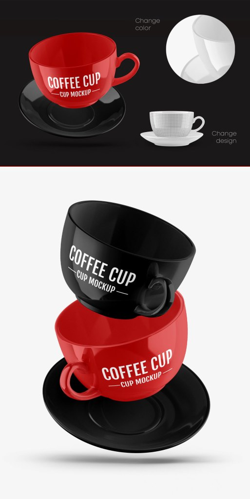 Glossy Coffee Cup Mockup Set 63236