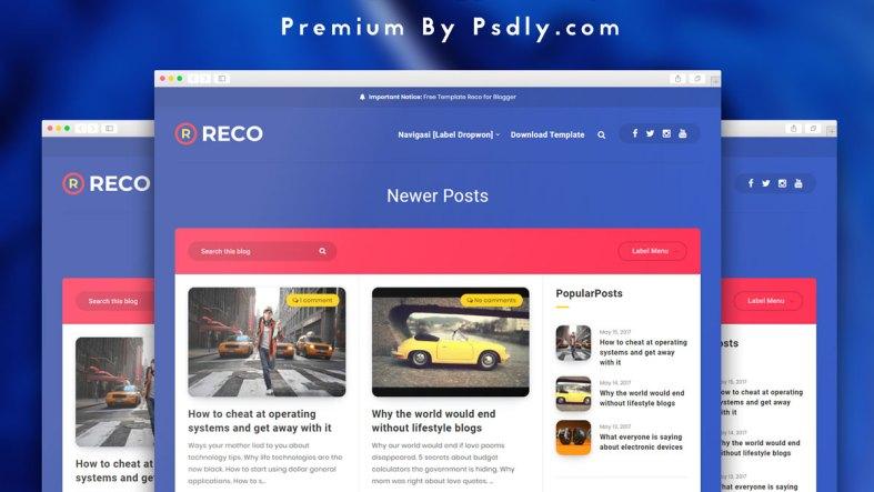 Reco Ertigo Blogger Template Premium Free